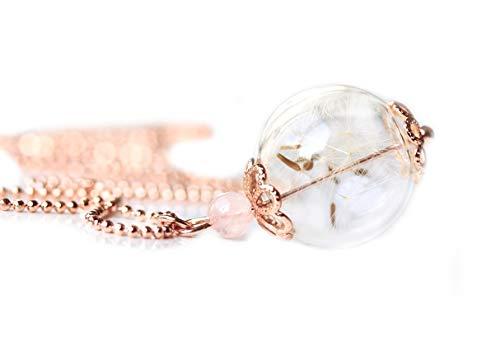Ladyville Roségoldfarbene Kugel Kette - Pusteblume in Glaskugel mit Rosenquarz/Geschenk für Sie/wünsch dir was/Glück Kette/Beste Freundin