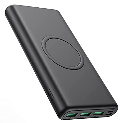 Wireless Power Bank 33800mAh, 5 Outputs 【PD 25W QC 4.0 Fast Charging + 15W Wireless Charging】 Portable Charger, Pxwaxpy External Battery Pack with 2 Inputs Compatible with iPhone, Samsung, Android etc