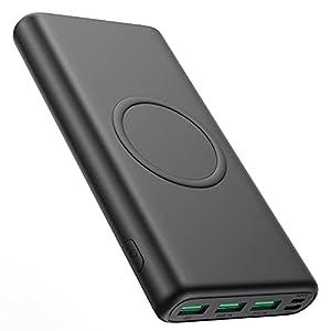 iPosible 15W Wireless Powerbank 33800mAh,【25W PD3.0 Type-C+USB QC4.0】 Schnelles Aufladen Externer Akku, 5 Outputs Wireless Charger Power Bank für Handy, Tablets