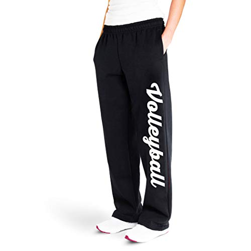 Volleyball Script Sweatpants | Volleyball Apparel by ChalkTalk Sports | Black/White | Youth Large