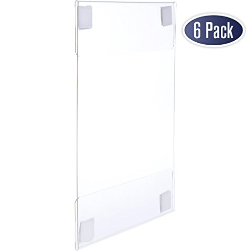 Acrylic Sign Holder with Hook and Loop Adhesive, 8.5 x 11 inches - Portrait or 11 x 8.5 inches - Landscape, Clear Wall Mount Frame, Perfect for Home, Office, Store, Restaurant (6 Pack)