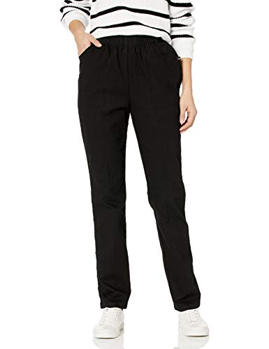 Chic Classic Collection Women's Stretch Elastic Waist Pull-On Pant, Black Denim, 14P