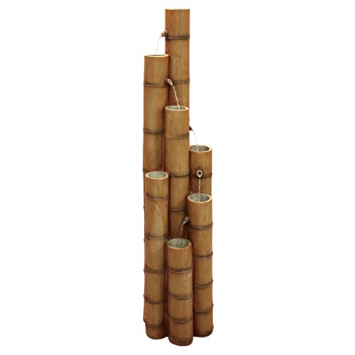 Asian Decor Water Fountain - Nearly 5 Foot Tall Cascading Bamboo Fountain - Outdoor Water Feature