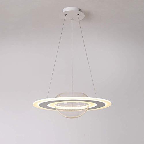 DJY-JY Barra de restaurante creativa en forma de plato LED atenuación continua para el hogar, sala de estar, dormitorio, lámpara de decoración con cilindro de vidrio (48 x 48 x 15 cm) The Good Life