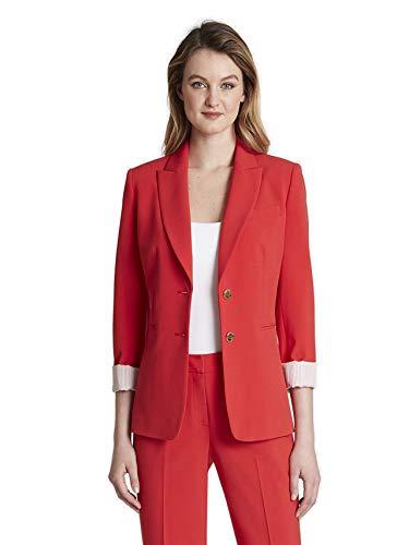 Tahari ASL Women's 2 Button Roll Sleeve Jacket, Red, 18