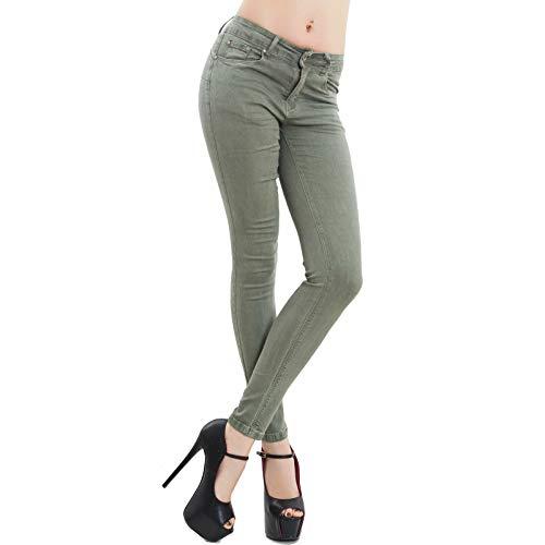 Toocool - Jeans Donna Pantaloni Skinny Slim Elasticizzati Push up Aderenti Nuovi M5780 [XL,Verde Militare]