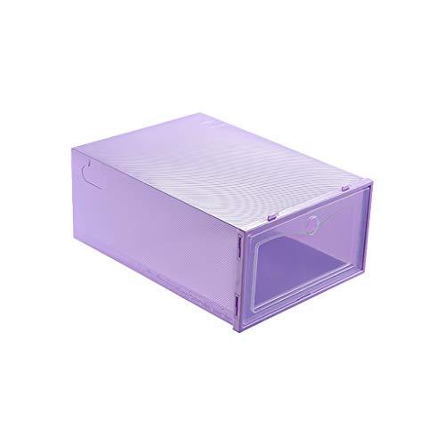 Routinfly Caja de zapatos transparente, 1 unidad, plegable, transparente, para zapatos, de plástico, apilable, organizador de zapatos (lila, S)
