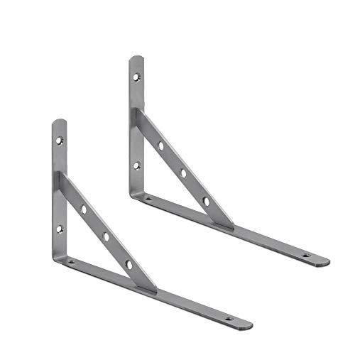 2 Stück Edelstahl Regal-Träger Schwerlastträger Set Winkel Handwerker Metall Konsole Regal-Halterung Wandregal Matt, Variante:Mod2-250mm x 150mm