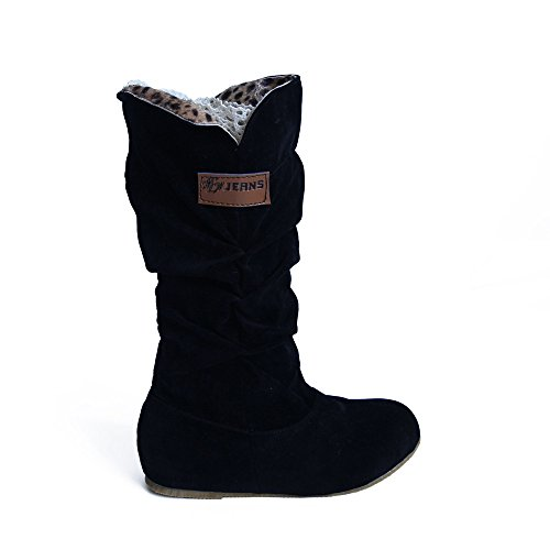 Damen Lederstiefel Halbschaft Stiefel Hoher Absatz Freizeit Schuhe Schnalle Mode Sexy Frauen Overknee High Boot High Heel Lange Oberschenkel...