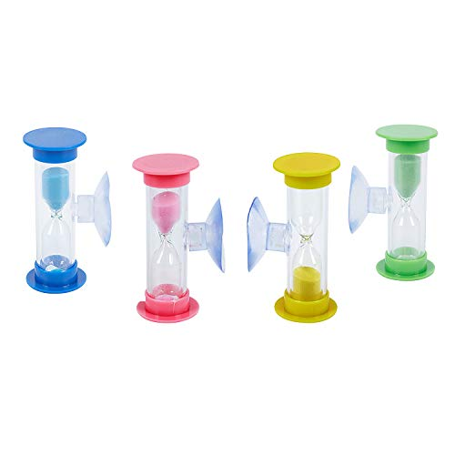 TOOGOO 6831 Zahnputz Sanduhr 3 Minuten Set 4 Stueck Sanduhren mit Sauger Fuer Sie und Ihre Kinder Familienset in den Farben pink, gelb, Gruen und blau
