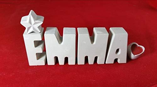Beton, Steinguss Buchstaben 3D Deko Namen EMMA mit Stern und Herzklammer als Geschenk verpackt! Ein ausgefallenes Geschenk zur Geburt, Taufe, Geburtstag oder auch zu Weihnachten.