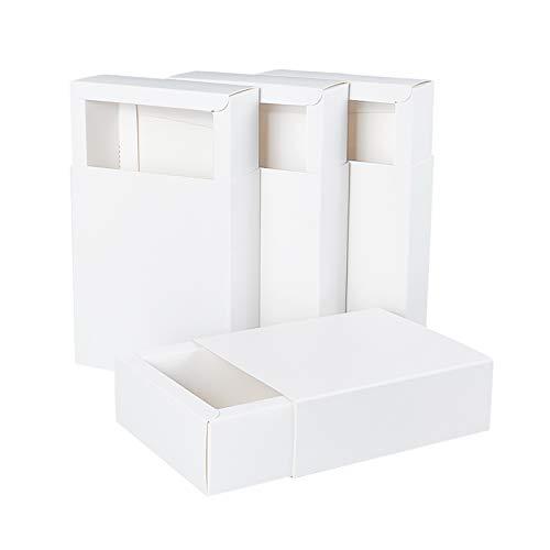 BENECREAT 20 Pack Caja de Cartón Kraft Blanco Caja de Papel en...