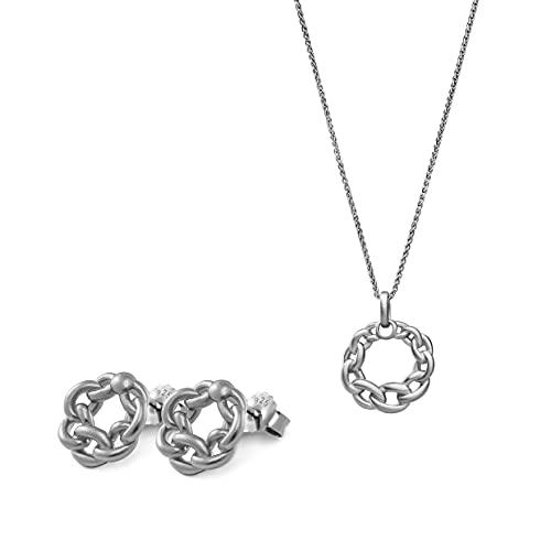 Orphelia Juego de pendientes de plata de ley 925 + colgante con cadena redonda con izquierda.