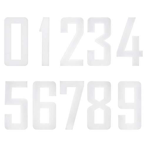PandaHall 40 Stück 0 bis 9 Nummern Kit, Weißes Eisen Auf Zahlen 8 cm Große Nummernfelder Für Fußball-Baseball-Mannschaftssport-T-Shirts