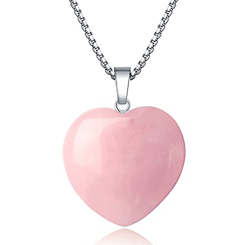 XIANNVXI Rose Quartz Necklace 1.2' Healing Crystal Heart Gemstone Pendant Necklaces Natural Spiritual Witchcraft Reiki Quartz Stone Jewelry for Women Girls Girlfriend