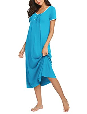Hotouch Sleep Dress for Women Lounge Gowns for Women Sleepwear Gowns Plus Size Blue XXL