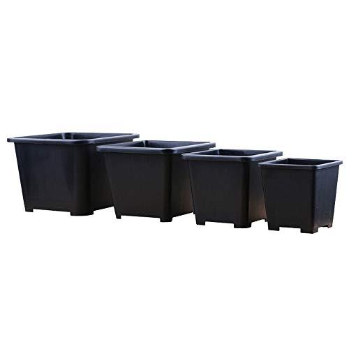 XHZJ Ensemble de quatre pièces Pot de fleur succulent noir carré, Ensemble de quatre pièces Pot de fleur succulent blanc carré, Ensemble de quatre pièces Grand diamètre Plastique Petit simple Haut Bal
