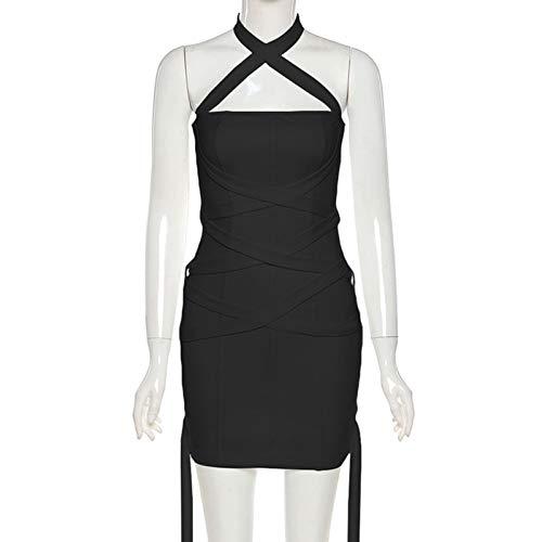 Shuliang Vestido elegante sin mangas para mujer, vestido casual de trabajo, color sólido, cintura alta, correa de cuello halter, para mujer primavera y verano (negro, blanco)