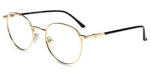 Firmoo Lesebrille Damen mit Blaulichtfilter, Anti Blaulicht Computerbrille mit Sehstärke, Runde Lesehilfe Lesebrille Herren für PC/Handy/Fernseher Anti Augenmüdigkeit (Gold, 0.0x)