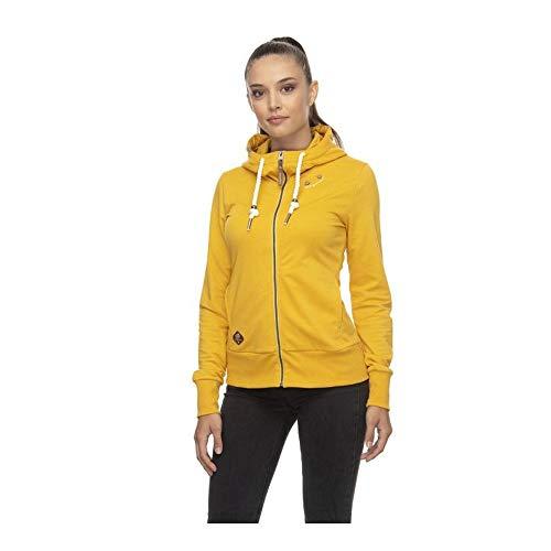 Ragwear PAYA Damen,Sweatjacke,Zip Hoodie mit Kapuze und Reißverschluss,vegan,Zwei Taschen,Gelb,M