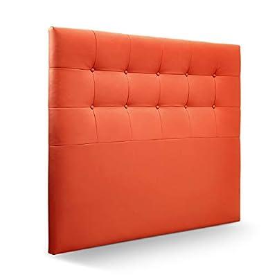 Cabecero tapizado acolchado para dormitorios con estructura en madera de pino Cabecero de cama acolchado con espumación HR Cabecero tapizado en polipiel Para camas de 135 (145 x 120 cm) polipiel naranja