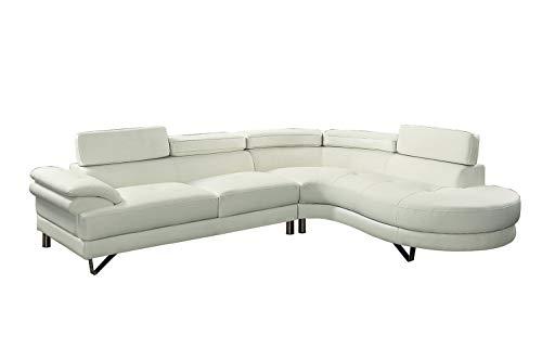 Poundex F6984 Bobkona Isidro Faux Leather sectional