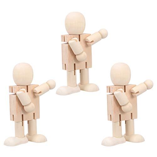 Holibanna 3 Stück Unvollendete Holzpuppe Bewegliche Puppe Joint Kinder Lernspielzeug Kunsthandwerk für Jugendliche Kinder