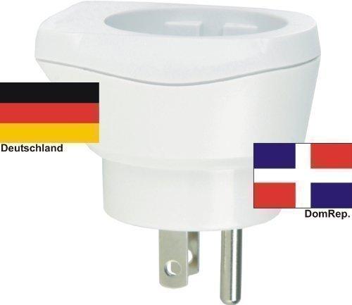 Reisestecker Adapter für Dominikanische Republik auf Deutschland Schukostecker,Domrep-Reiseadapter