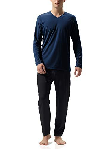 Genuwin Herren Zweiteiliger Schlafanzug Lange Pyjama Set aus Baumwolle, Nachtwäsche für Männer, 1 Set (S, Dunkelblaues Shirt + Schwarze Hose)