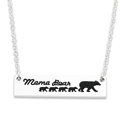 Mommy Bear Necklace 4 Bears Necklace,Mom Bear Necklace Bear Family Necklace with 4 Cubs Mama Bear Necklaces for Women, Christmas Jewelry Gifts Upgraded Version