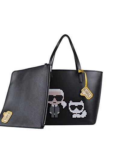 KARL LAGERFELD 201W3126 Tasche mit Clutch Leder schwarz, 20KW201W3126, Schwarz, 20KW201W3126 Einheitsgröße
