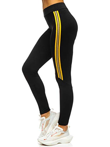 BOLF Mujer Leggings Lisos Mallas largas Pantalón de Algodón Estampado Fitness Entrenamiento Slim Fit Estilo Deportivo Red Fireball W82331 Negro-Amarillo XL [F6F]