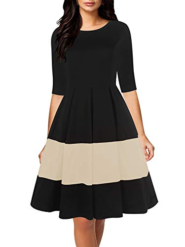 oxiuly Women's Vintage Half Sleeve O-Neck Contrast Casual Pockets Party Swing Dress OX253 (XL, BK-Beige)