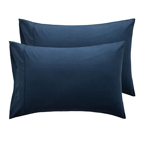 Bedsure Taies d'oreiller 50x70cm Bleu Marine - Lot de 2 Housses Oreiller Rectangulaire en Microfibre Brossée, Protège Oreiller avec Fermeture à Enveloppe
