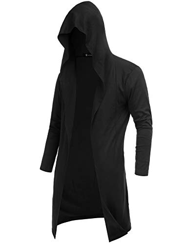 RAGEMALL Mens Long Cardigan Open Front Draped Lightweight Hooded Sweater with Pockets Black_XXL