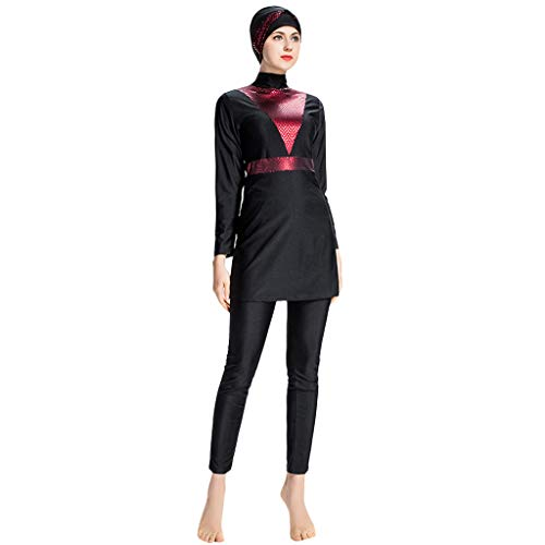 Lazzboy Frauen Muslimischen Badeanzug Mit Kappe Volltonfarbe Beachwear Bademode Muslim Islamischen Für Hijab Badebekleidung Full Deckung Schwimmen(Rot,3XL)