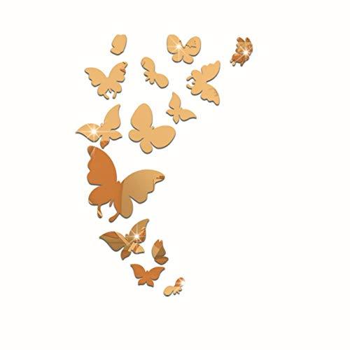 3D Sticker Mural diy Reflective Wall Stickers Cartoon Gold Silver 14 Butterflies Mirror Wall Stickers Butterflies,Butterfly 14 - Gold