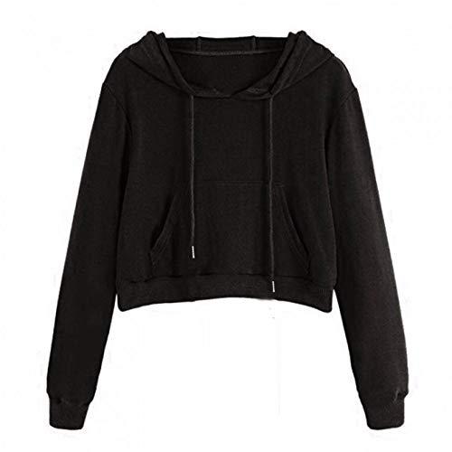Tzzdwy Vrouwen O-Hals Cropped Hoodie Lange Mouw Pocket Jumper Effen Trekkoord Korte Pullover 3 Kleuren