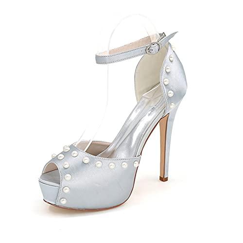 Zapatos De Boda con Plataforma De Satén para Mujer Cómoda Novia Dama...
