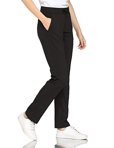 Hawthorn Athletic Track Pants for Women, Full Length Drawstring Pants with Pockets for Golf, Office, Casual 31.5'' Black L(12)