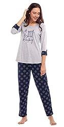 ZEYO Womens Cotton Grey Floral Print Night Suit