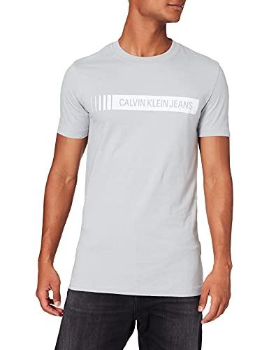 Calvin Klein Jeans Institutional Logo Box tee Camiseta, Gris (marbel), M para Hombre