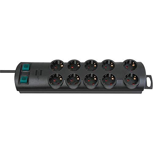 Brennenstuhl 1153300120 Primera-Line regleta tomas corriente y 2 individuales (cable de 2m, con interruptores independientes, montable) negro, 230 V, 10 enchufes