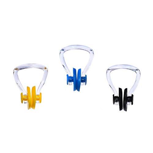 N-A - Pinza para la nariz de natación, silicona, impermeable, protección para surf, 3 unidades, color azul amarillo y negro