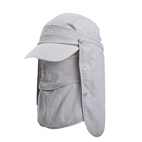 Lazzon Hombres Mujer Gorra para el Sol Anti-UV Pesca con Proteccion de Cuello ala Ancha Secado Secado rápido extraíble Sombrero Equitación Camping Senderismo (Gris Claro)