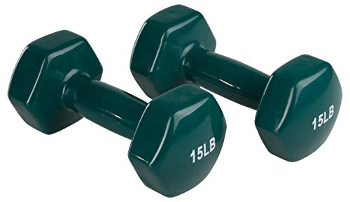 AmazonBasics Vinyl 15 Pound Dumbbells - Set of 2, Teal