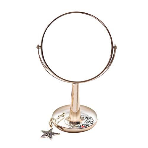 Mr.T Make-up-Spiegel Desktop Rasierspiegel, Champagner Gold Esstisch Spiegel mit beidseitigem Rasierspiegel 1X / 3X Badezimmer-Spiegel Desktop-Make-up-Spiegel (Color : Gold)