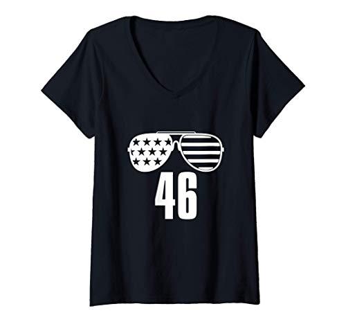 Mujer 46 Biden 46a gafas de sol de la bandera estadounidense Joe Camiseta Cuello V