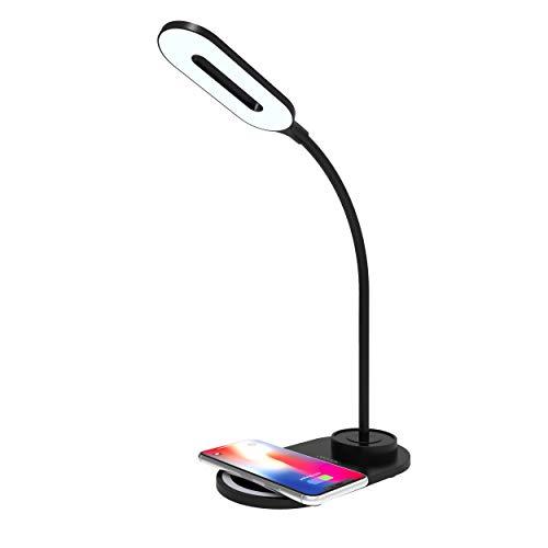 Luminária LED Portátil & Carregador por indução Qi, acompanha carregador de parede 10W, Preto, LBQIBK, Geonav