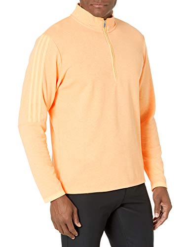 adidas Golf Men's 3-Stripes Quarter Zip Pullover, Orange, Large